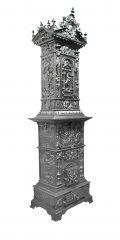 Prunkofen 028 - Sehr ausdruckstarker antiker Ofen mit kunstvoll gegossener Ornamentik